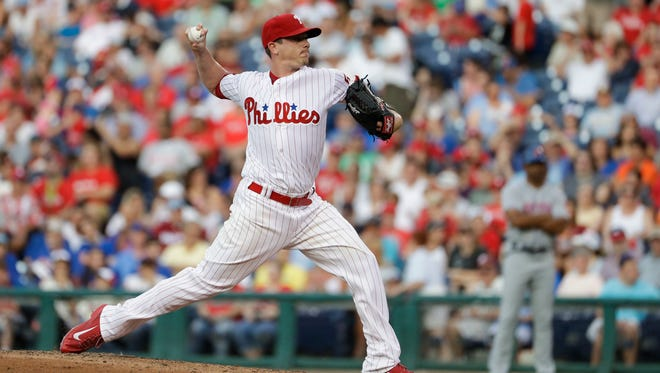 Philadelphia Phillies' Jeremy Hellickson pitches during the third inning Friday against the New York Mets in Philadelphia.