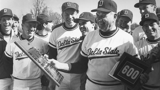 Boo Ferris, right, spent 46 years in college or pro baseball, and won 639 games as the Delta State head coach. The Statesmen went to the NCAA Division II World Series three times under Ferriss, made the playoffs in eight of his last 12 years and won four conference championships. Before his retirement in 1988 Ferriss had produced 49 all-conference players, 20 All-Americans and 23 that went on to professional careers.