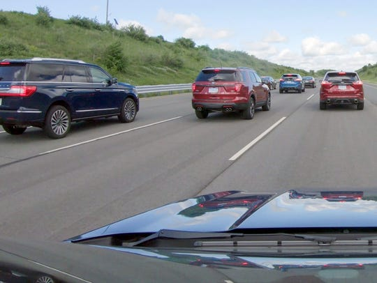 A view of the space between vehicles when vehicles