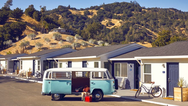 At the renovated Calistoga Motor Lodge and Spa, rooms are designed to mimic a 1960s VW camper.
