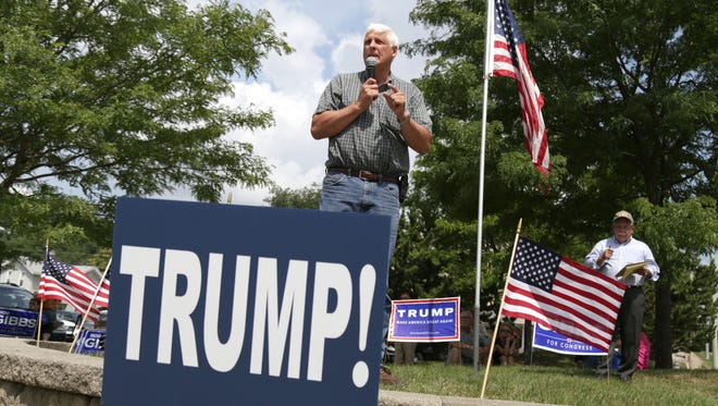 US Congressman Bob Gibbs speaks for his support of presidential candidate Donald Trump during a rally at Ringler Park in Ashland on Saturday.