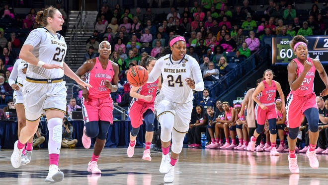 Notre Dame Fighting Irish guard Arike Ogunbowale (24) dribbles in the second half against the Georgia Tech Yellow Jackets at the Purcell Pavilion.