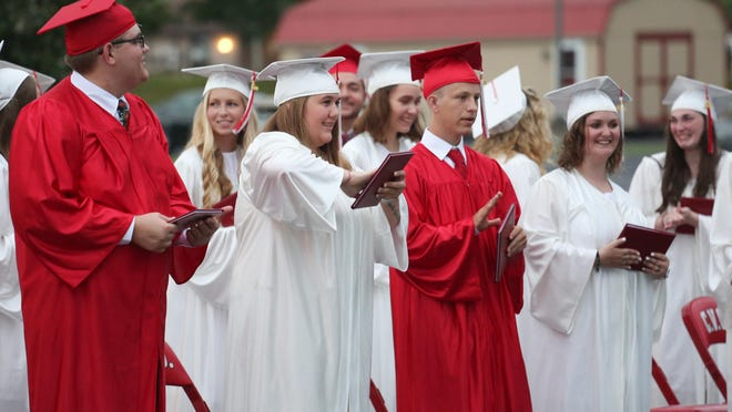 Graduates of Cumberland Valley Christian School, located at 600 Miller St., in Chambersburg are pictured during a graduation ceremony Friday evening at the Open Door Church on the campus of CVCS. JOHN IRWIN/ THE RECORD HERALD