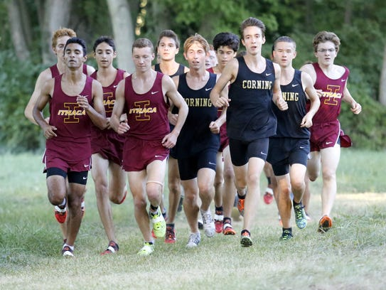 Boys from Corning and Ithaca run together in a pack