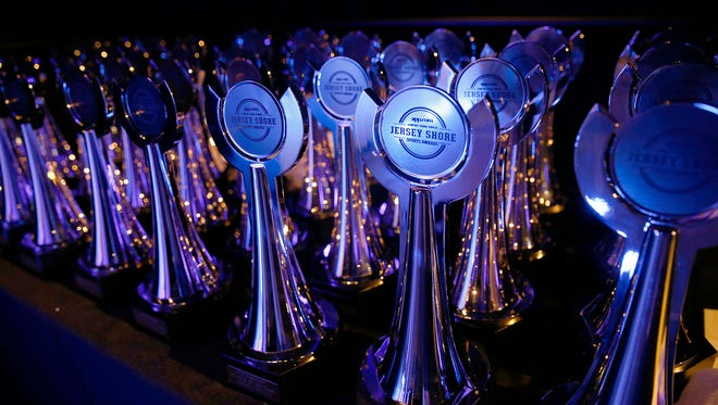 Jersey Shore Sports Awards dinner trophies are shown on stage at Monmouth University Monday, June 13, 2016.
