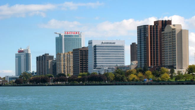 The skyline of downtown Windsor, Ontario, as seen from the Detroit River.
