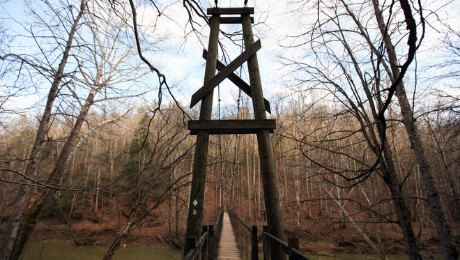 A view of the suspension bridge along Sheltowee Trace national recreation trail in the Red River Gorge. Feb. 27, 2016.