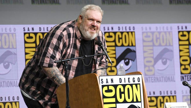 """Kristian Nairn speaks at the """"Game of Thrones"""" panel on day two of Comic-Con International on Friday, July 21, 2017, in San Diego."""