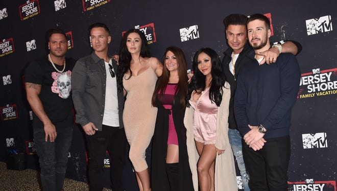"Ronnie Ortiz-Magro, Mike Sorrentino, Jenni Farley, Deena Cortese, Nicole Polizzi, Pauly DelVecchio and Vinny Guadagnino attend the Premiere of MTV Network's ""Jersey Shore: Family Vacation"" at HYDE Sunset: Kitchen + Cocktails on March 29, 2018 in West Hollywood, California."
