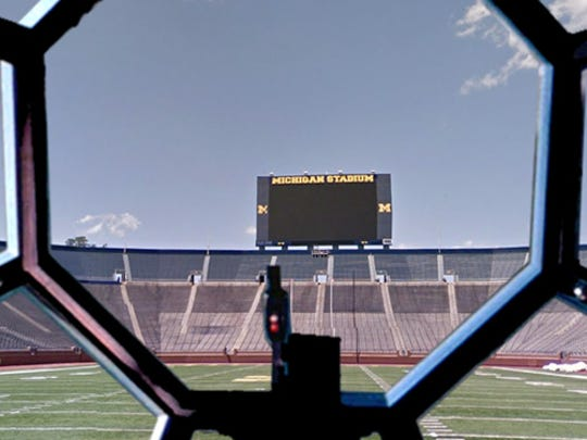 Michigan Stadium, seen through the TIE Fighter.