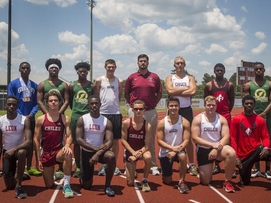 The 2016 All-Big Bend boys track and field first team. Front row, from left: Leander Forbes (Leon), Michael Phillips (Chiles), Justin Peter (Leon), Matthew Newland (Chiles), Darin Meeker (Maclay), Field Athlete of the Year Cole Upthegrove (Chiles), T.J. Ashley (NFC); Back row, from left: Tyricke Dickens (Godby), Raekwon Archer (Lincoln), Marquel Pittman (Lincoln), George Escobar (Maclay), Coach of the Year Philip Browning (Chiles), Jordan Poole (Chiles), Runner of the Year Leonard Holmes (NFC), Vincent Johnson (Lincoln)