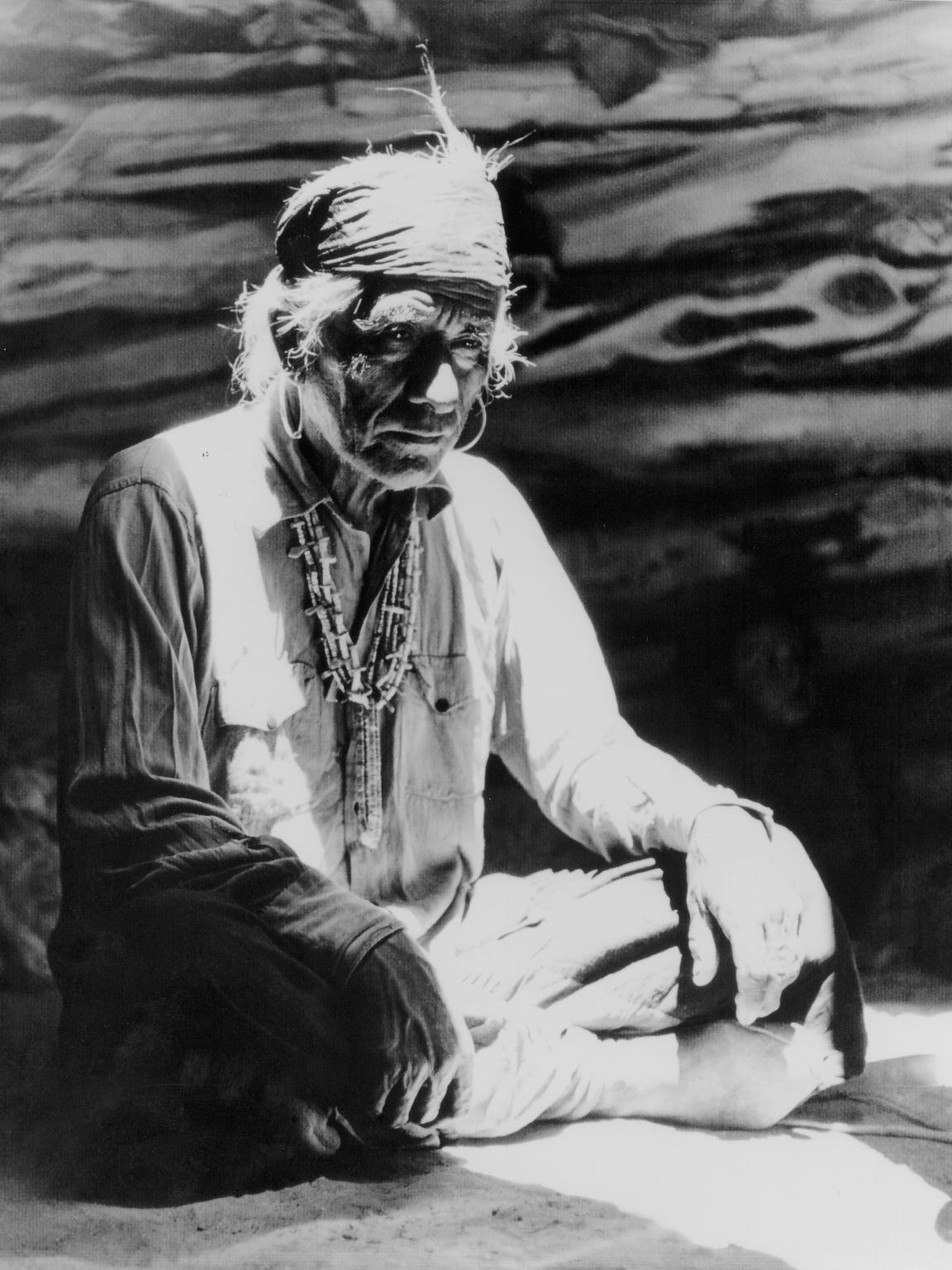 """The Chief,"" 1948.  Goldwater said: ""This man is a Navajo who lived up in the Paiute Country, which is north of Navajo Mountain in Utah. I introduced myself to him and he invited me into his hogan. I just call it 'The Chief.'"""