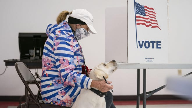 SUPERIOR, Wis. -- Catherine Anderson sits with her dog, Ivy, as she votes in the Wisconsin Primary at the Billings Park Civic Center in Superior on April 7.