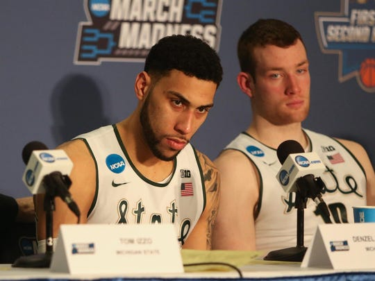 Michigan State Spartans head coach Tom Izzo, Denzel Valentine and Matt Costello talk about the 90-81 loss to the Middle Tennessee State Blue Raiders on Friday, March 18, 2016 at Scottrade Center in St. Louis.