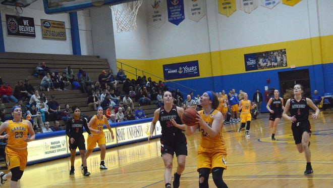 Lake Superior State's Lexie Kohn (24) puts up a shot during a home game this past season. Kohn was named the Lakers' MVP for a second straight year.