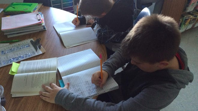 Carl Traeger Elementary fifth graders are working hard on publishing personal narratives.