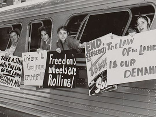 Freedom Riders embarking on their efforts throughout