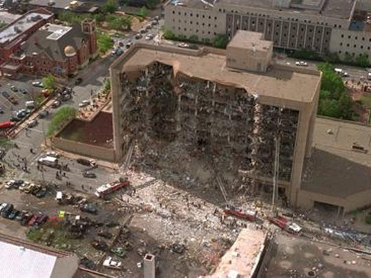 The north side of the Alfred P. Murrah Federal Building in Oklahoma City is shown missing after a truck bomb explosion, in this Wednesday, April 19, 1995, file photo. Timothy McVeigh was found guilty in the Oklahoma City bombing that killed 168 people.