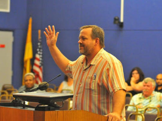 MIlo Zonka speaks before the council at the May 18 Palm Bay City Council meeting. Zonka called for a wider probe of allegations of wrongdoing in Palm Bay City Hall.
