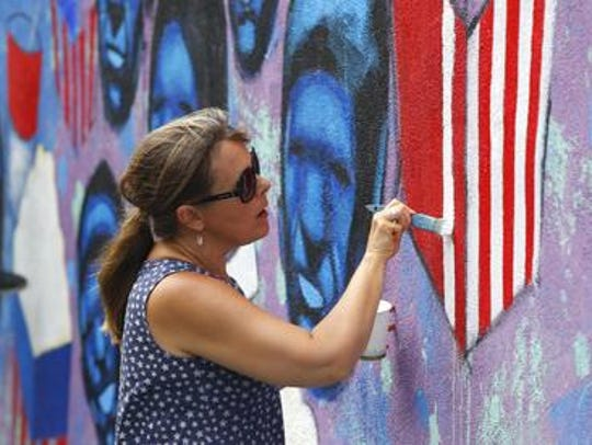 Connie Isabell of Long Branch, works on Broad Street