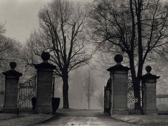 The gates of Spring Forest Cemetery, photographed by