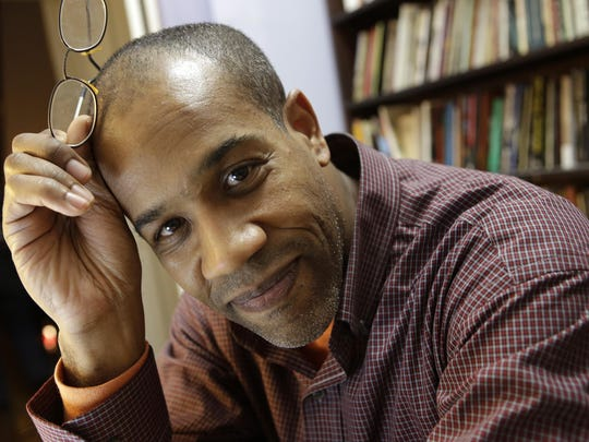 Gregory Pardlo, winner of the 2015 Pulitzer Prize for poetry, relaxes at his home office in the Bedford-Stuy section of Brooklyn. Pardlo, who grew up in Willingboro, won for 'Digest,' his book of poetry.