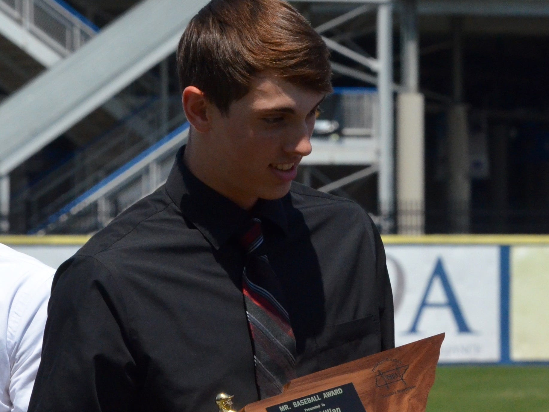Spring Hill junior pitcher Gage Gillian was named Class AA Mr. Baseball on Tuesday at MTSU's Reese Smith Jr. Field.