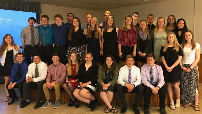 Two Rivers High School held its Senior Honors Dinner May 10. Pictured, front row, from left: Matt Omillian, Tristan Duprey, Adam Taylor, Meghan Jackson, Allison Horner, Megan Sosnosky, Brody Kust and Jared Krahn. Second row: Emily Fallon (alone, far left) and Abbigail Cooley and Erin Slattery (together, far right). Third row, from left: Aaron Mleziva, Taylor Michaels, Ben Strong, Megan Klansky, Angela Henrickson,  Mindy Glaser, Allison Rehrauer, Savannah Stanley, Gabriella Weier and May See Kue. Fourth row, from left: Pedro Guzman, Torgny Simons, Dawson Kiphart, Joseph Creelman, Tanner Greenwood and Dakota Wehausen. Not pictured: Emily Daron, Claire Evanoff and Pachee Lee.