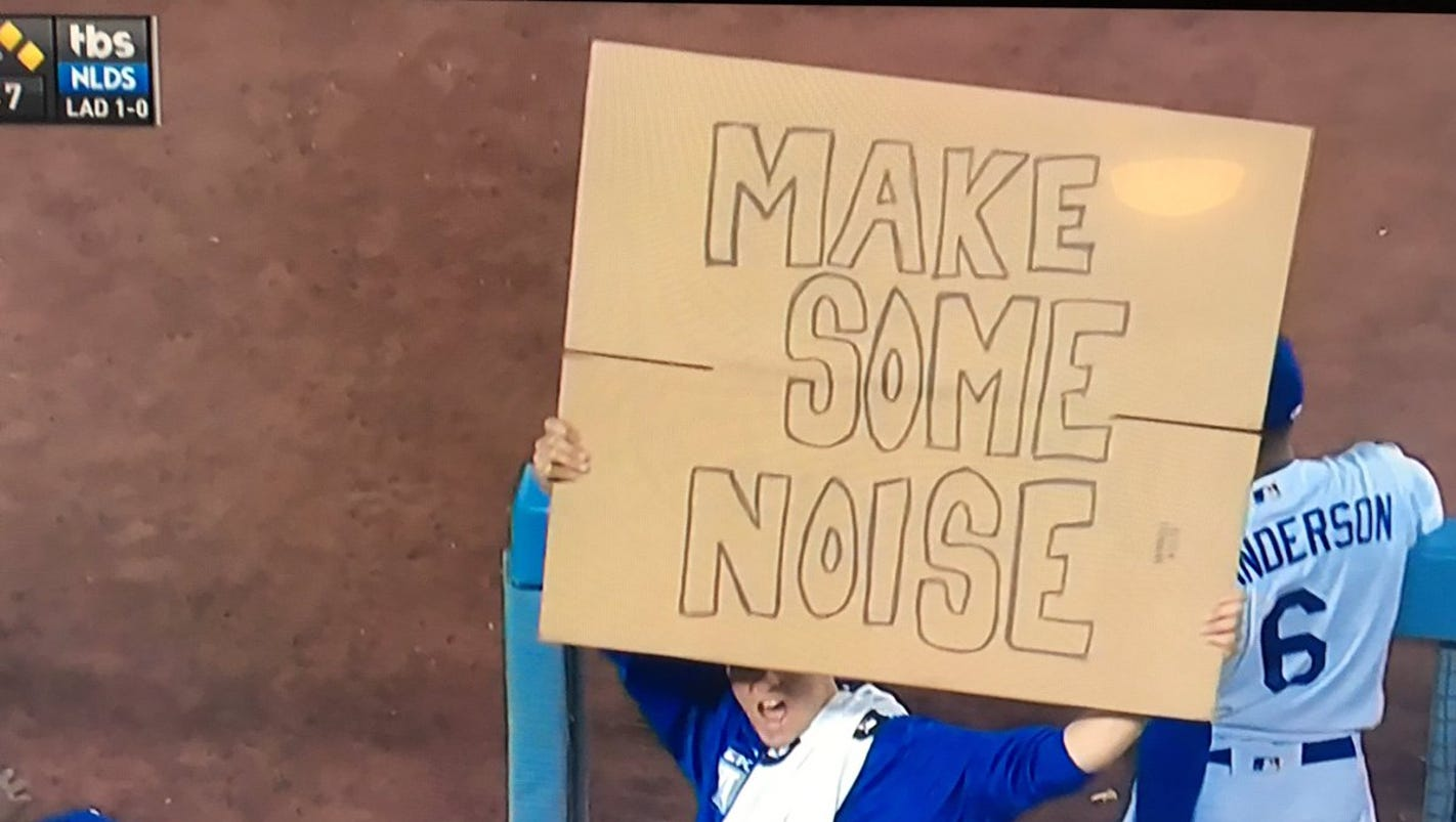 Dodgers starter Rich Hill instructs LA crowd with cardboard sign
