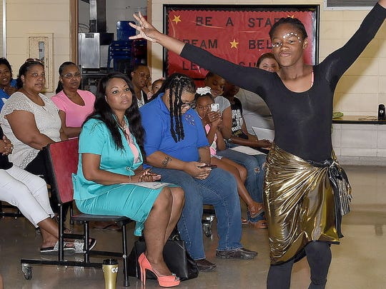 Kamryn Tyler performs a traditional dance during the closing ceremonies for the 21st Century Summer Enrichment Program at North Elementary. Guest speaker for the event was Ledricka Thierry, attorney and former Louisiana State Representative. See more photos on the Daily World Facebook page.