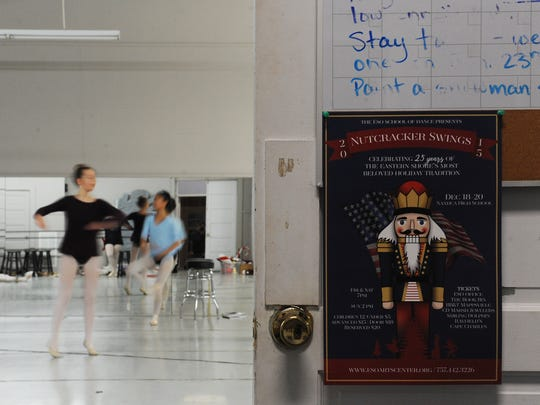 "Dancers warm up before a rehearsal of the ESO Schol of Dance's upcoming production of ""The Nutcracker Swings,"" at practice on Thursday, Dec. 10, 2015."