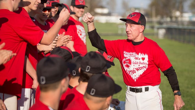 Wapahani Coach Brian Dudley celebrates his 700th win on April 12 at an away game at Randolph Southern. He is the 10th baseball coach in state history to achieve the feat, according to the Indiana High School Baseball Coaches Association and holds a record of 700-277.