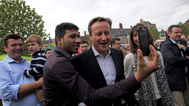 British Prime Minister David Cameron campaigns on May 4, 2015, in Bath, United Kingdom, ahead of Thursday's election.