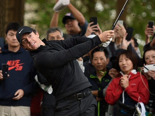 Oct 21, 2019; Chiba, JAPAN; Rory McIlroy plays a shot on the first hole during The Challenge: Japan Skins golf competition at Accordia Golf Narashino Country Club. Mandatory Credit: Matt Roberts-USA TODAY Sports