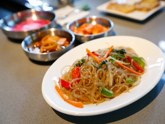 A selection of the banchan, or Korean side-dishes,