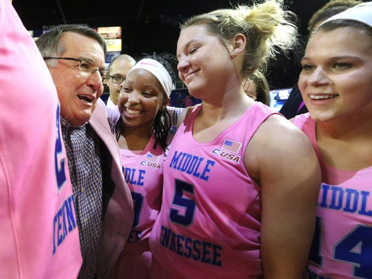 MTSU Women beat Marshall 94-69 during the the MTSU Play 4Kay Power of Pink game, on Saturday, Feb. 18, 2017.