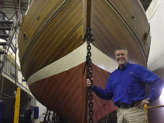 "General Manager Scott Strang of Centerpointe Yacht Services, Sturgeon Bay, says visitors of the Shipyard Tours on May 5 will be able to see the nearly completed refurbishing of the ""Providence,'' a 45-foot deep blue water cruising sailboat."