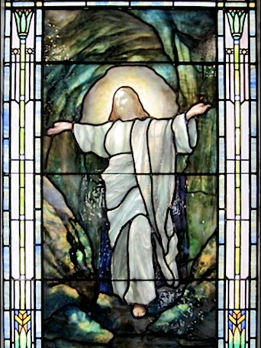 Rudy Brothers Stained-Glass Window in Mausoleum at Prospect Hill Cemetery, York, PA (2015 Photo, S. H. Smith)
