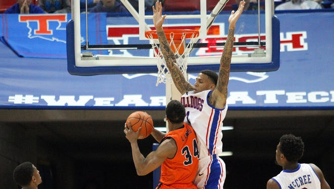 Louisiana Tech forward Michale Kyser (1) was named to the Conference USA All-Defensive Team along with Speedy Smith for the second straight year.
