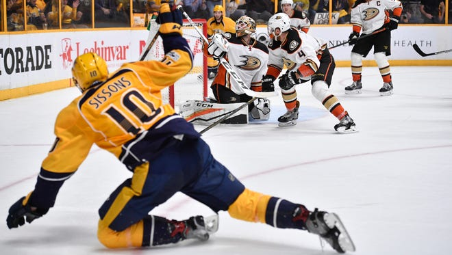 Predators center Colton Sissons scores in the third period of Game 6 of the Western Conference finals at Bridgestone Arena on Monday, May 22, 2017. It was his third goal of the game.