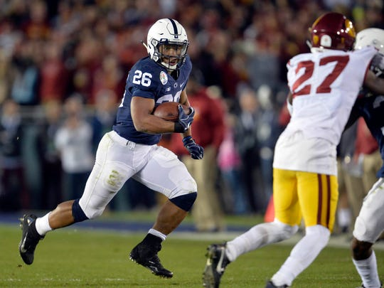 Saquon Barkley rushed for 1,496 yards and 18 touchdowns last season for Penn State.