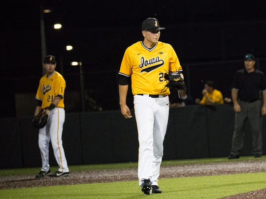 Iowa pitcher Brady Schanuel approaches the mound during a baseball game at Duane Banks Field in Iowa City between Iowa and Penn State on Saturday, May 19, 2018.