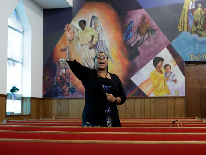Dominique Moore sings during Big Bend Apostolic Ministerial