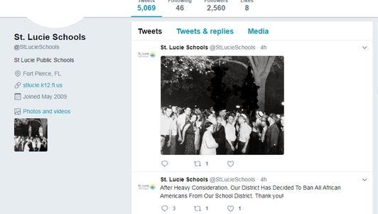 Tweets made from the St. Lucie County School District's Twitter account. (Images of bodies blurred out.)