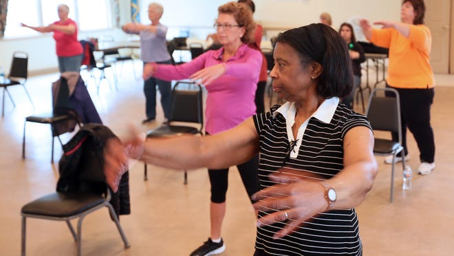 Audrey Taylor, 77, a resident of Townsend for over six years, does t'ai chi at the Middletown Odessa Townsend Senior Center. Taylor moved from Lumberton, N.J. six years ago.