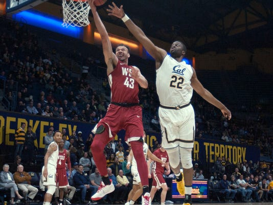 Washington State's Drick Bernstine (43) drives to the basket ahead of California's Kingsley Okoroh (22) during the first half of an NCAA college basketball game Thursday, Feb. 22, 2018, in Berkeley, Calif. (AP Photo/D. Ross Cameron)