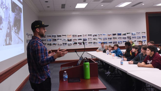Vince Onel, of LA-based Spohn Ranch Design and Development, discusses the company's history during a meeting to discuss the new skate park planned for Everett Park in Newark. Local skateboarders and bicyclists came to give feedback about what features they would like to see in the park.