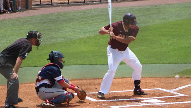 Pearl River first baseman Simon Landry looks a pitch low in the strike zone during action Friday against Northwest in the NJCAA Region 23 Tournament at Ellisville.