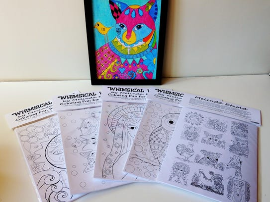 Etzold's coloring pages are a sampler of her whimsical