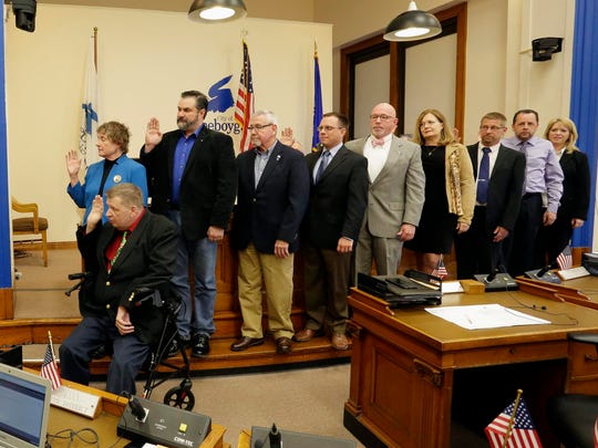 The new Sheboygan council is sworn by City Clerk Susan